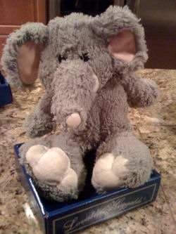 Walmart Loveable Huggable GRAY CHENILLE ELEPHANT with PINK EARS & BIG WHITE FEET