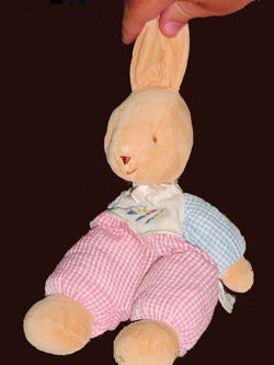 Carter's Tan Rabbit with Pink and Blue Gingham Arms and Legs