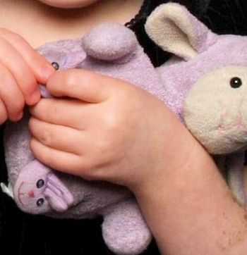 Best Made Toys Small Lavender Lamb Wearing Bunny Slippers