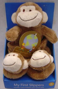 Brown Monkey Slippers with Monkey Head