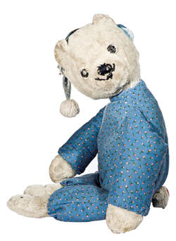 International Silver White Bear with Light Blue Rose Print Pajamas & Cap