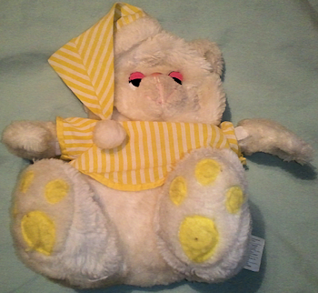 White Floppy Bear with Yellow & White Striped Nightshirt & Stocking Cap