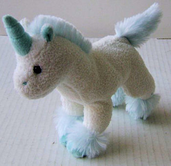 Small Pastel Blue Unicorn with Sea Foam Horn 7 Blue Furry Mane, Tail, Feet