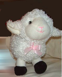 DanDee Small White Chenille Lamb with Black Feet and a Pink Bow