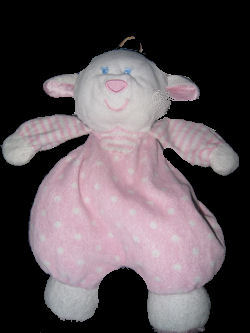 white Lamb with Pink & White Dots, Stripes