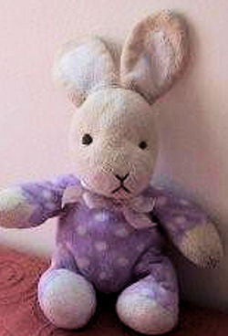 , FOUND – Animal Alley WHITE & CREAM RABBIT Wearing a WHITE SPOTTED PURPLE SLEEPER