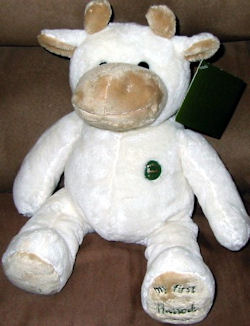 , FOUND – 2005 Harrods WHITE & TAN MY FIRST HARRODS COW