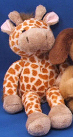WORLD MARKET 12 inch Brown Velour Giraffe with Embroidered Eyes Beige Muzzle, Horns, Hooves