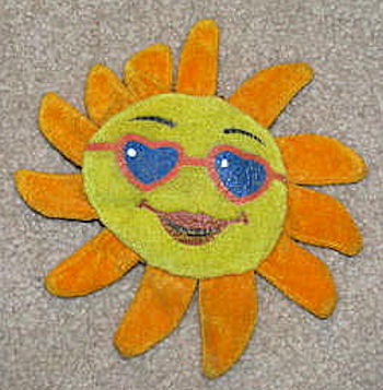 Small Yellow & Orange Smiling Sun with Heart Sunglasses