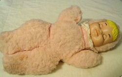 Vintage Pink Furry Bunting Doll with Plastic Face