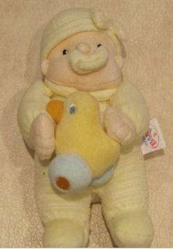 Zapf My Lovely Baby Doll with Pacifier & Squeaky Duck Attached Wearing Yellow & White Velour Stripe Sleeper