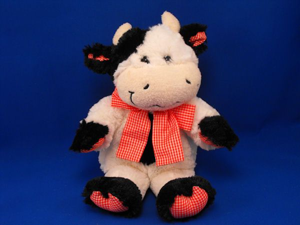 Animal Adventure White Black Cow Red Gingham Accents Big Bow