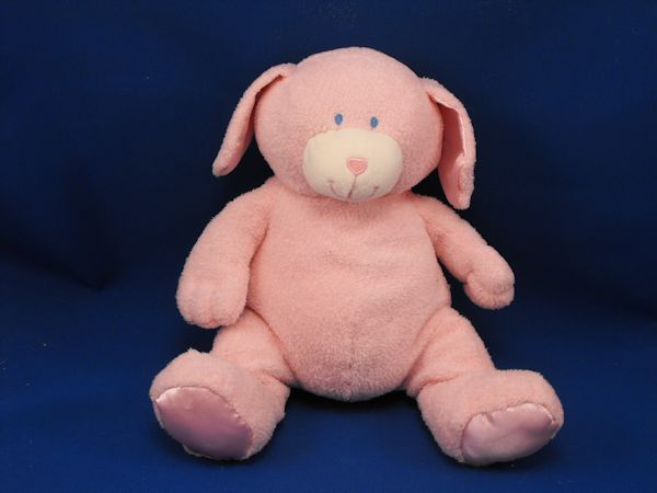 Animal Alley Pink White Soft Terry Dog Pink Satin Ears Feet