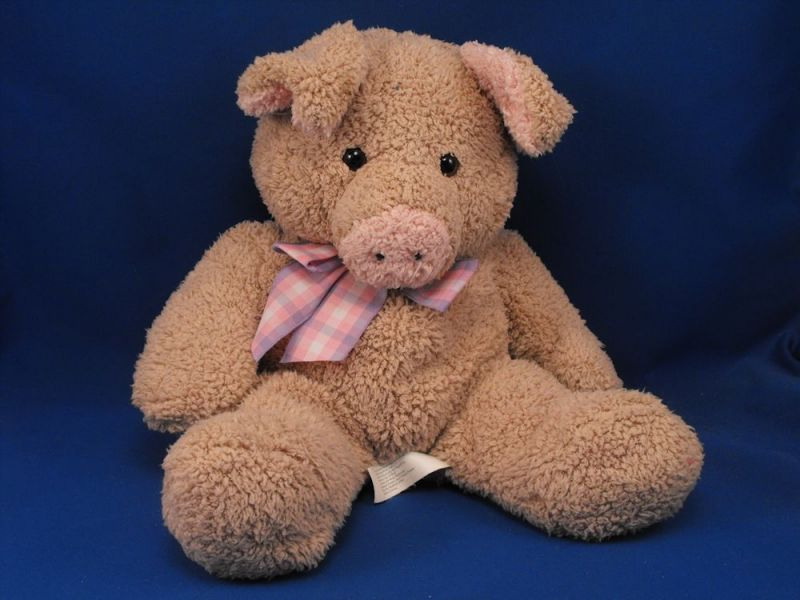 Animal Alley Tan Pig Pink Ears Snout Lavender Pink Plaid Bow