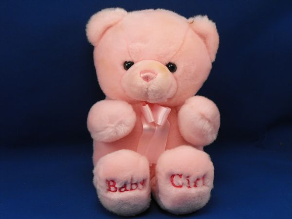 Baby Aurora Pink Bear Baby Girl on Feet Pink Satin Ribbon