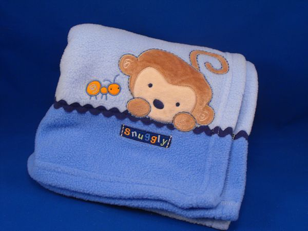 Carters SNUGGLY Blue Baby Blanket Monkey Caterpillar