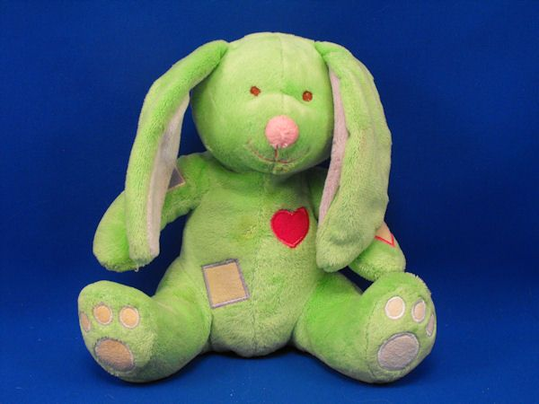 Baby Connection Green Lavender Rabbit Patches Rattle Crinkle Squeak