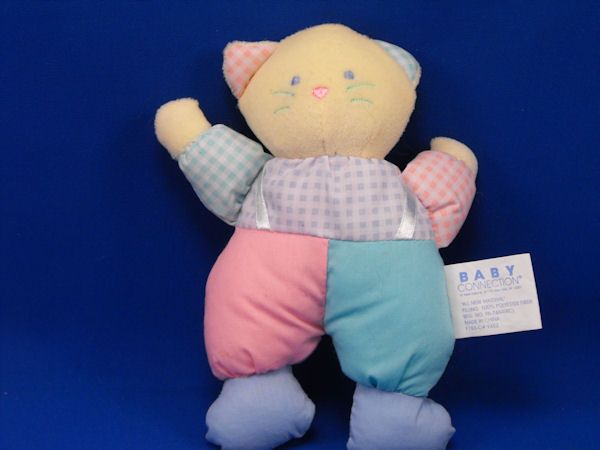 Baby Connection no 9452 Yellow Cat Gingham Multi Color Rattle