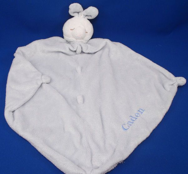 Unknown Brand White Asleep Rabbit Blue Blankie Knotted Corners