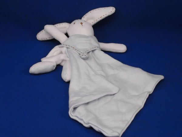 Tawil White Rabbit Head Arms Brown Stitching Small Blue Knit Blankie