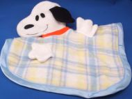 Knickerbocker White Snoopy Dog Pastel Blue Plaid Blankie Puppet
