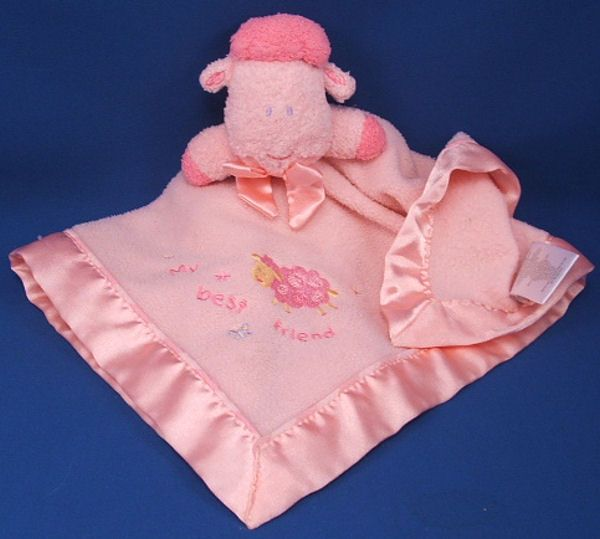 Carters Pink Lamb Hot Pink Accents Blankie My Best Friend Rattle