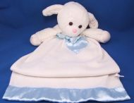 DAKIN Blankie White Lamb Satin Ears Hooves Blue Satin Bow