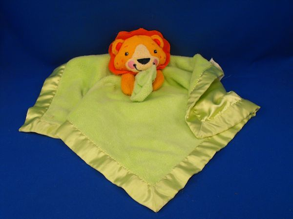 Crown Crafts Orange Lion Holding Lime Green Blankie