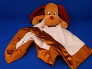 Small Fry Design Brown Velour Dog White Blankie Paw Print