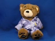 Build a Bear Brown Bear BEAREMY Big Eyebrows Blue Satin PJs