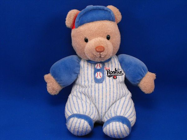 Carters no 8326 Tan Bear Little Rookie Baseball Red Blue Cap Rattle