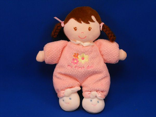 Carters Brunette Looped Pigtails My First Doll Flowers Bunny Slippers