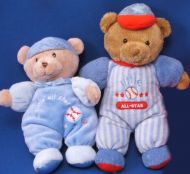 Carters Just One Year Brown Bear Blue Sleeper Little All Star Baseball