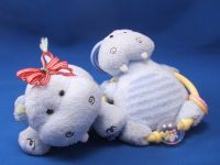 Carters Small Blue Hippo Striped Tummy Teething Ring Rattle