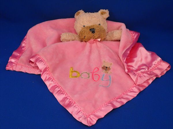 Carters Child of Mine Tan Brown Dog Pink Blankie Baby