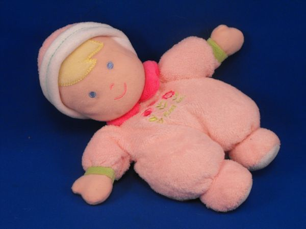 Carters Blond Doll Pink White 3 Hot Pink Flowers Cap Rattle