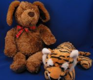 GUND Large Brown Dog Red Plaid Bow