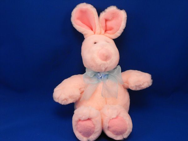 Commonwealth 2003 Pink Rabbit Upright Ears Blue Bow Flower