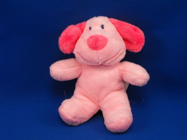 DanDee Small Super Soft Pink Dog Hot Pink Ears Nose Jingle Rattle