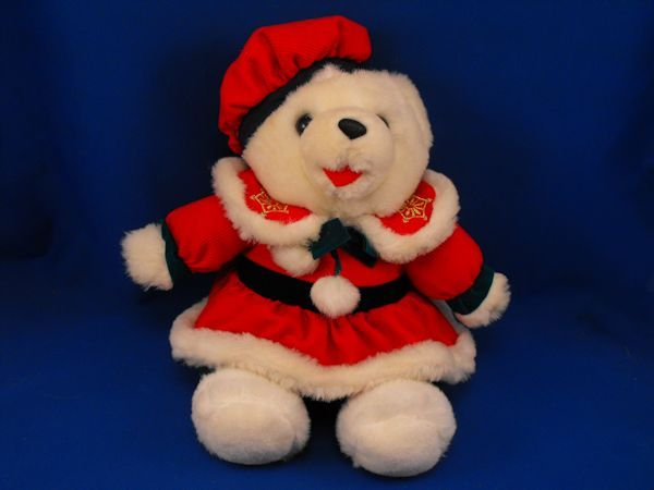 White Bear Red Corduroy Hat Dress SNOWFLAKE TEDDY Style