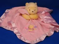 Disney no D22072H Cream Pooh Pink Ruffled Blankie