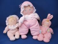 RUSS Camille Blond Baby Doll Pink Hearts Bonnet Rattle