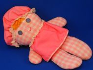 Fisher Price Lolly Pink Gingham Plaid Girl Doll VINYL Eyes