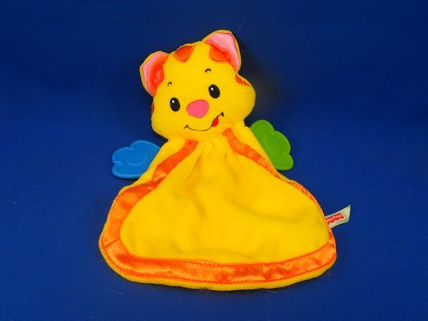 Fisher Price Small Yellow Orange Tiger Cat Teether Blankie