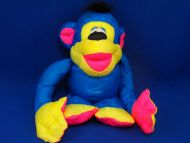 Fisher Price 1994 Blue Yellow Pink Puffalump Chattering Chimp