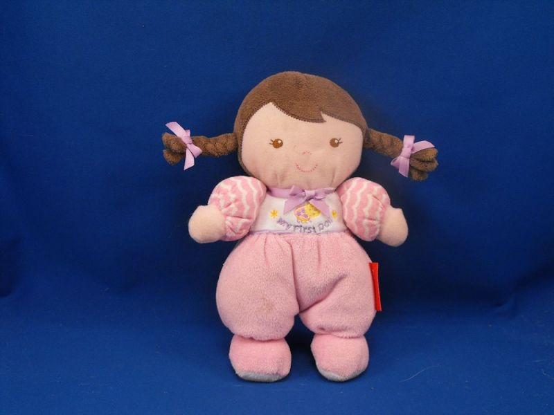 Fisher Price Brunette Pigtails Pink Bug My First Doll Rattle