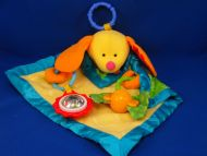 Fisher Price 2005 no J2445 Yellow Green Blue Dog Activity Blankie