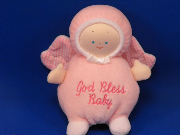 GUND God Bless Baby Pink Velour Angel Doll Gingham Wings Rattle