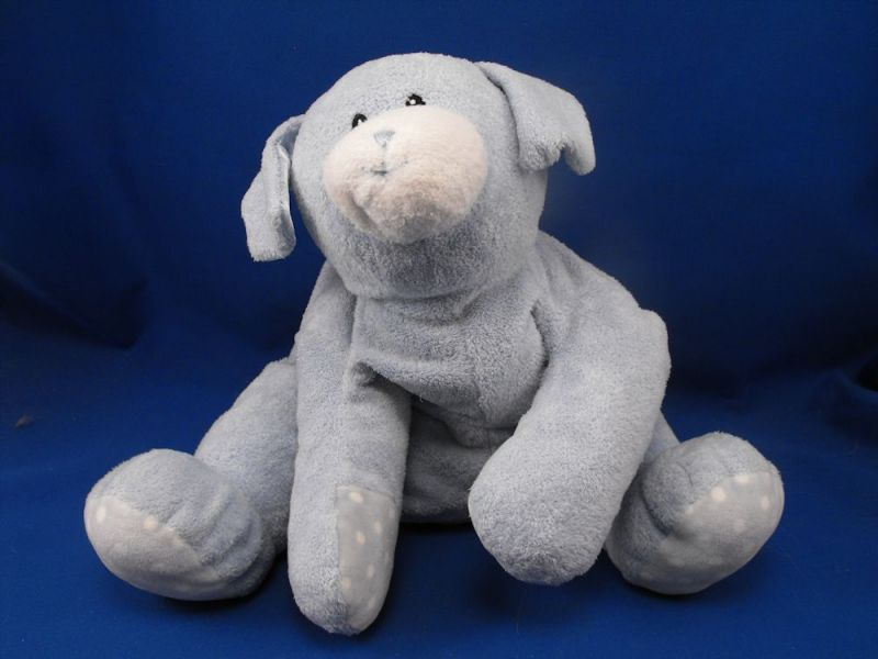Baby GUND Blue White XL Dog Dottie Dots Blue Satin Ears no Rattle