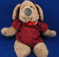 Ganzbros Full Body Puppet Wrinkles Beige Girl Dog Maroon Outfit